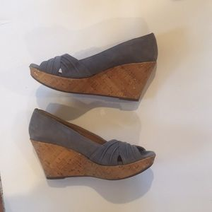 Gray Suede Sofft Cork Wedges Size 7.5